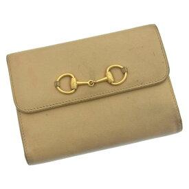 fb226cb2cd2b 【中古】 グッチ GUCCI がま口財布 三つ折り メンズ可 ビット金具 ベージュ×ゴールド