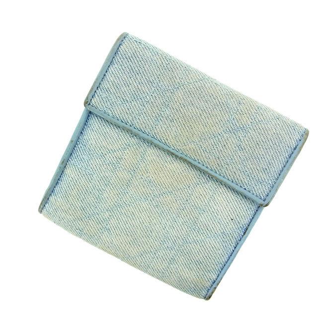 【中古】 【送料無料】 クリスチャン・ディオール Christian Dior 三つ折り財布 メンズ可 ブルー キャンバス×レザー C920