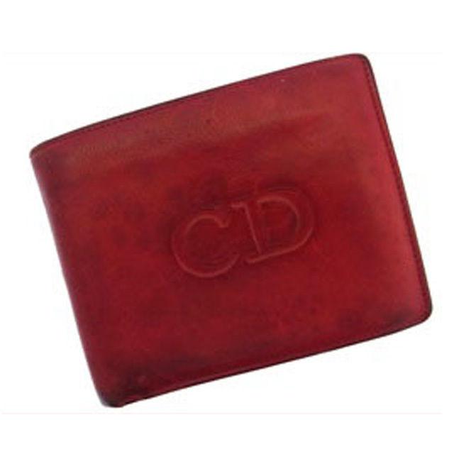 【中古】 【送料無料】 クリスチャン・ディオール Christian Dior 二つ折り財布 ロゴ レッド レザー D222