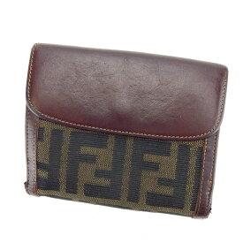 【中古】 フェンディ Wホック財布 さいふ 二つ折り財布 さいふ ズッカ ブラウン系 キャンバス×レザー FENDI ホックサイフ ホック財布 さいふ 財布 さいふ サイフ 財布 さいふ ユニセックス 小物 1点物 【フェンディ】 E1064
