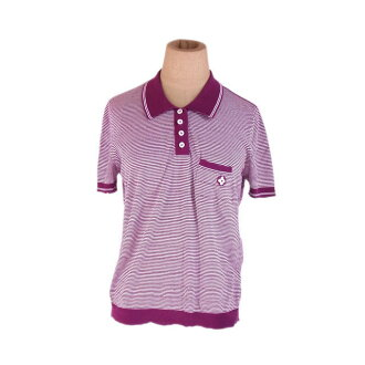 Horizontal stripe purple X white beauty product popularity E1211 with the Louis Vuitton Louis Vuitton polo shirt short sleeves Lady's ♯ small size breast pocket