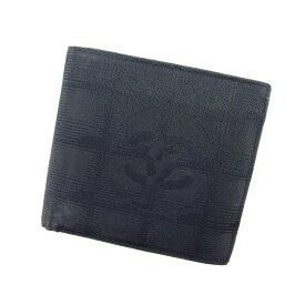 3ed44f84e63b 【中古】 シャネル Chanel 二つ折り財布 財布 ブラック ニュートラベルライン レディース E857s .