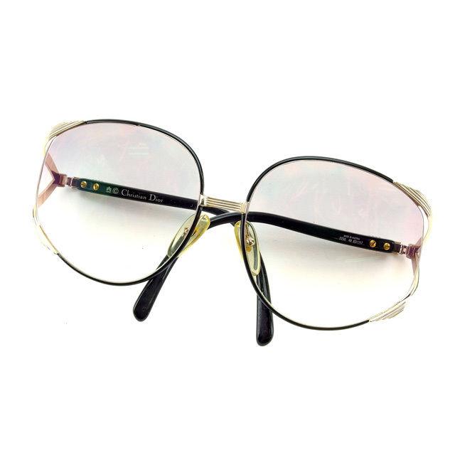 【中古】 【送料無料】 クリスチャン・ディオール Christian Dior サングラス 度入り メンズ可 ブラック×ゴールド (あす楽対応)良品 E903