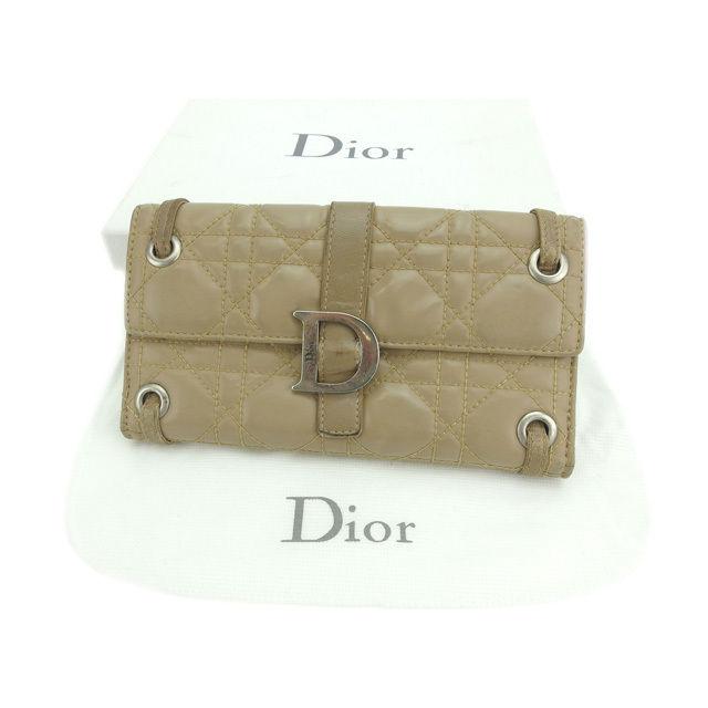 【中古】 【送料無料】 クリスチャン・ディオール Christian Dior 長財布 Wホック レディース キルト ベージュ エナメルレザー (あす楽対応) 即納 E956