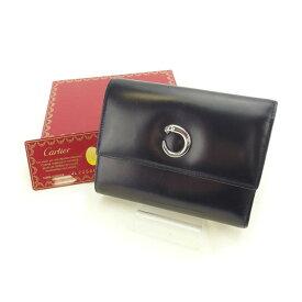 c26656f845ab 中古 【スーパーSALE】 【20%オフ】 【中古】 カルティエ Cartier 三つ折り財布 レディース パンテール ブラック レザー E964 .