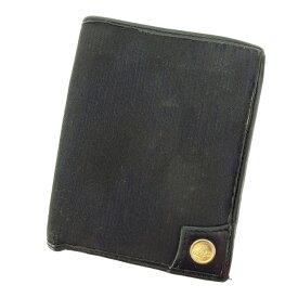 【中古】 ヴィヴィアン ウエストウッド Wホック財布 さいふ 二つ折り財布 さいふ オーブボタン ブラック×ゴールド Vivienne Westwood 【ヴィヴィアン・ウエストウッド】 E985