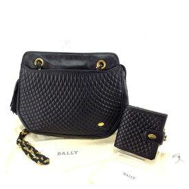 476a17324b10 【中古】 バリー Bally ショルダーバッグ バック 二つ折り財布 財布 ブラック×ゴールド レディース