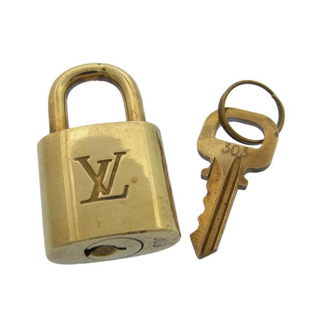 【中古】 【送料無料】 ルイヴィトン Louis Vuitton カデナ&キーキーリング メンズ可パドロック ロゴ ゴールドカラー 真鋳 F360