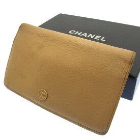 919527679121 【中古】 シャネル CHANEL 二つ折り財布 長財布 メンズ可 ココボタン ベージュ レザー