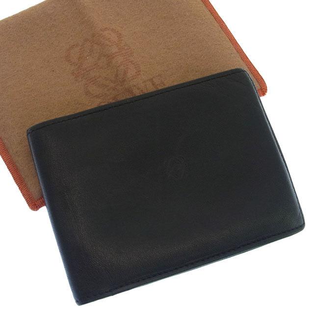 【中古】 【送料無料】 人気 良品 ロエベ LOEWE 二つ折り札入れ メンズ クリアカードケース付き アナグラム ブラック ラムスキン F632s .