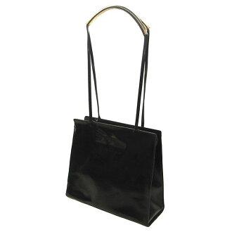 Salvatore Ferragamo Salvatore Ferragamo 单肩包手提包女士标志方形的形式黑色珐琅皮革与廉价的流行 F843