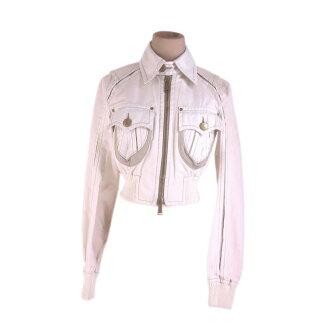 Dis kelp grouper ard DSQUARED2 jacket short length Lady's ♯ 40 size hem rubber shirring riders white X beige quality goods popularity G1183.