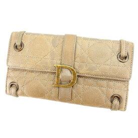 【中古】 クリスチャン ディオール 長財布 さいふ Wホック キルト ブロンズ Christian Dior 【ディオール】 G658