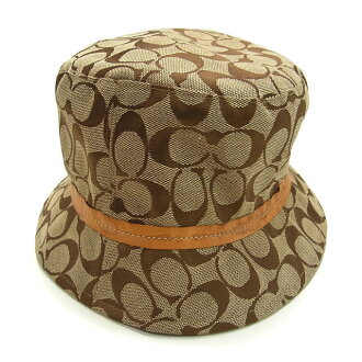 Coach COACH Hat hats women's signature beige x Brown canvas x leather (lined) polyester (response) (cheap and quick delivery) H160