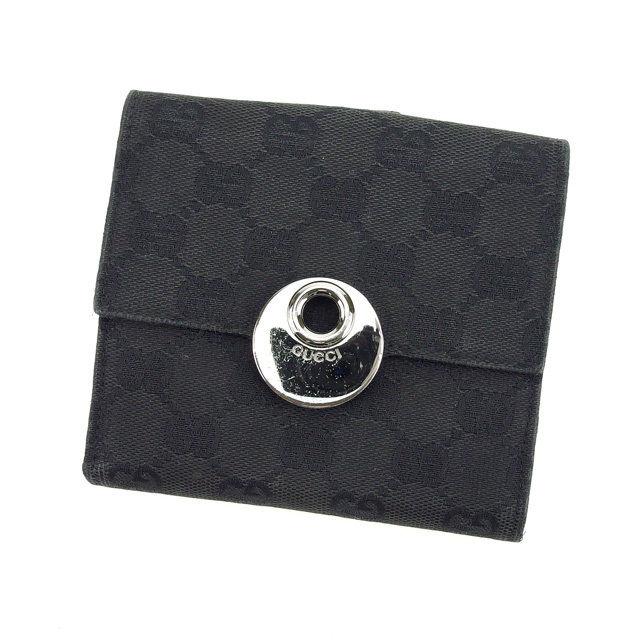 【中古】 【送料無料】 グッチ Wホック財布 二つ折り コンパクトサイズ レディース GGキャンバス オーバル ブラック×ブラックシルバー Gucci H302 .
