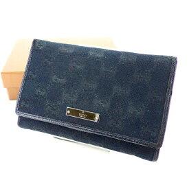 【中古】 グッチ L字ファスナー財布 さいふ 二つ折り財布 さいふ GGキャンバス ブラック×シルバー GUCCI H395