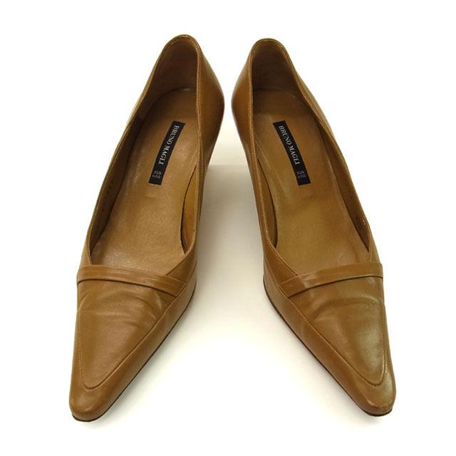 【中古】 【送料無料】 ブルーノマリ Bruno Magli パンプス 靴 レディース ♯34・1 2 ポインテッドトゥ ライトブラウン レザー I100