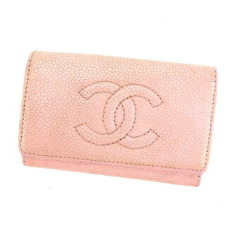 Beautiful article L1014 which there is Chanel CHANEL key case Lady's here mark pink X gold caviar skin reason in