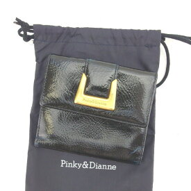 【中古】 【送料無料】 ピンキー&ダイアン 二つ折り財布 Wホック財布 レディース ロゴ ブラック×ゴールド系 Francesco Biasia L775