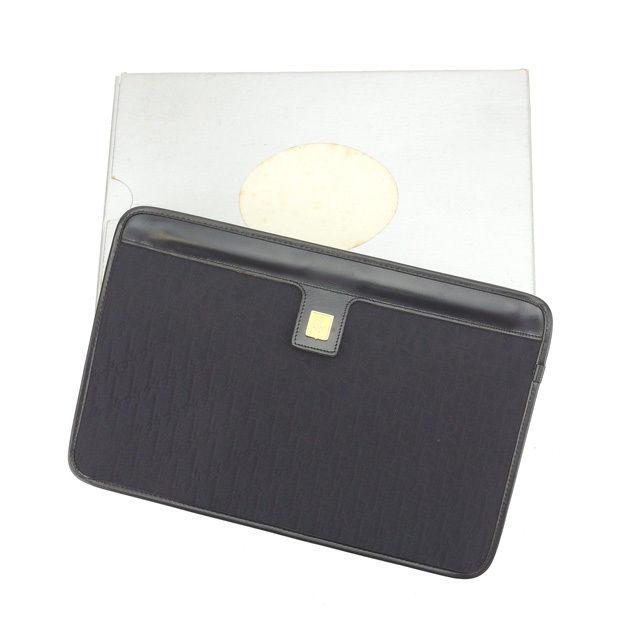 【中古】 【送料無料】 クリスチャン ディオール セカンドバッグ クラッチバッグ レディース トロッター ロゴプレート付き ブラック×ゴールド Christian Dior L889