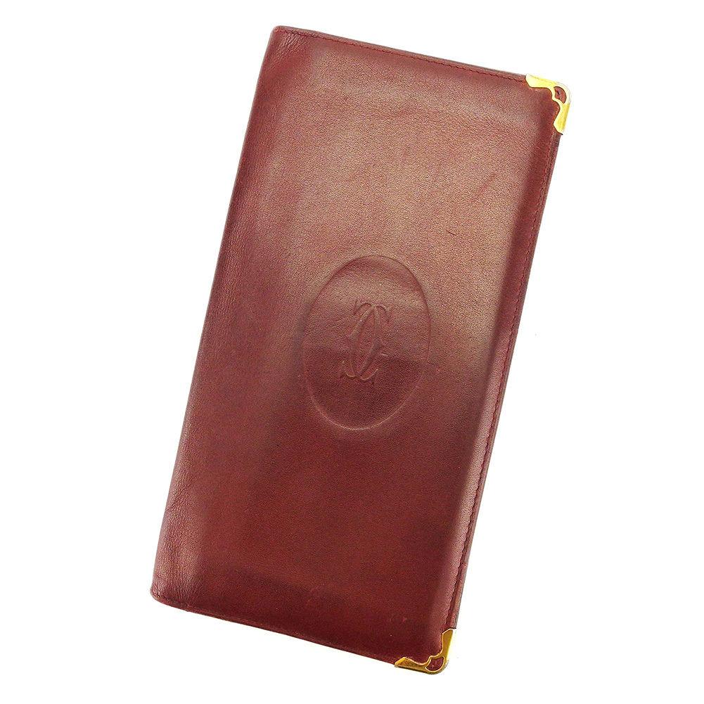 【中古】 【送料無料】 カルティエ 二つ折り 札入れ 長財布 財布 ボルドー L1634s