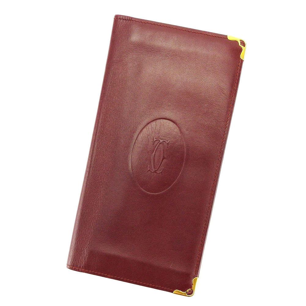【中古】 【送料無料】 カルティエ 二つ折り 札入れ 長財布 財布 ボルドー L1635s
