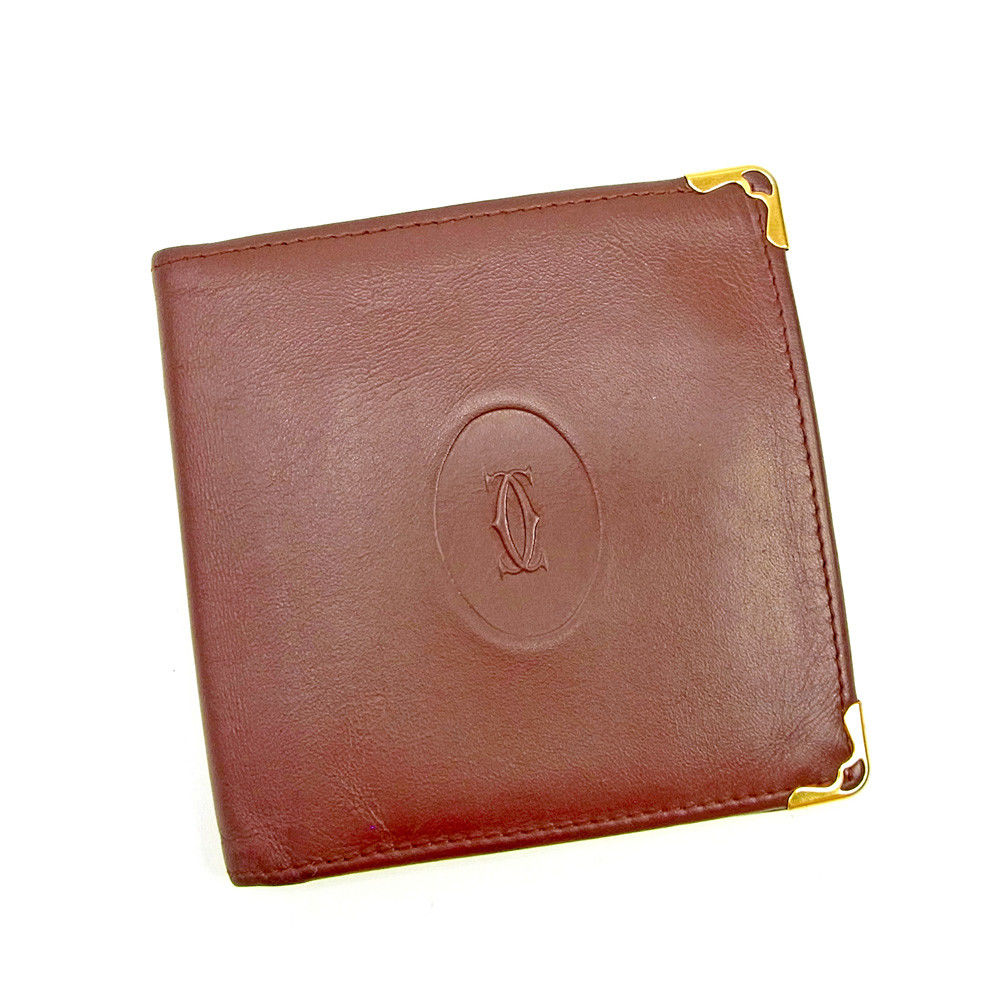 【中古】 【送料無料】 カルティエ 二つ折り 財布 ボルドー L1806s