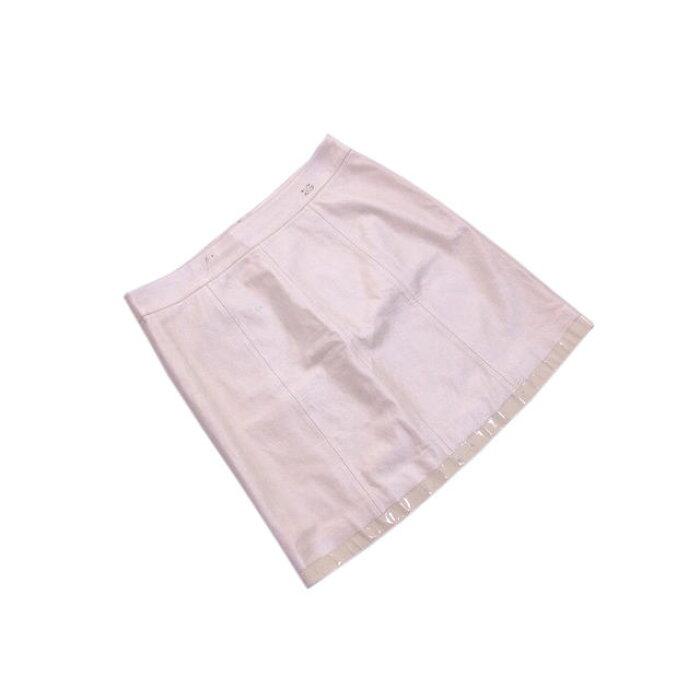 【中古】 【送料無料】 シャネル CHANEL スカート /裾切替え レディース /レザーミニ ココマーク アイボリー (激安・即納) L2049s