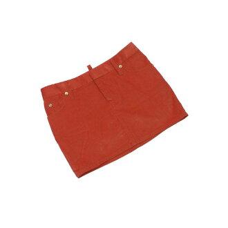 Dis kelp grouper ard DSQUARED2 skirt micromini length Lady's ♯ 40 size diamond pattern corduroy red orange X gold quality goods popularity L2095