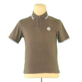 【中古】 モンクレール ポロシャツ 半袖 ロゴワッペン 綿100% カーキ×ブルー系 MONCLER L2397