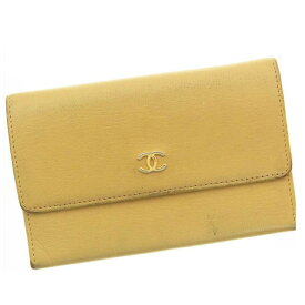 a77a2313bedd 【中古】 【送料無料】 シャネル 二つ折り財布 レディース ココマーク ベージュ Chanel