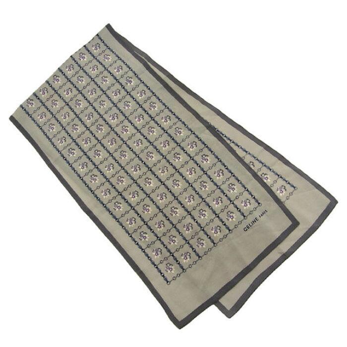 【中古】 セリーヌ CELINE スカーフ レディース プリント グレイ系 M894