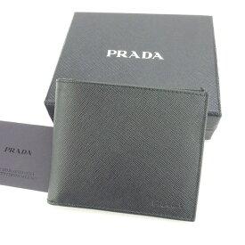 【中古】 【送料無料】 プラダ 二つ折り札入れ メンズ ロゴ ブラック Prada N330