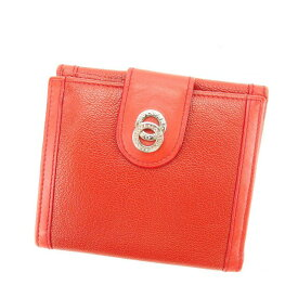 【中古】 【送料無料】 ブルガリ BVLGARI Wホック財布 二つ折り財布 男女兼用 ドッピオトンド レッド×シルバー レザー (あす楽対応)良品 N447s