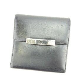 35229f6564dd 【中古】 カルティエ Cartier 三つ折り財布 メンズ可 ラブコレクション ブラック×シルバー レザー