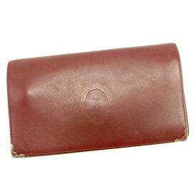 d0008a77045d 【中古】 カルティエ Cartier 長財布 財布 がま口 財布 財布 ボルドー×ゴールド マストライン