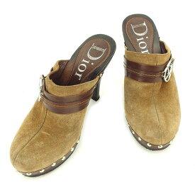 【中古】 ディオール サンダル シューズ 靴 サボサンダル スエード×レザー×ウッド ベージュ×ブラウン×シルバー Dior T1815 .