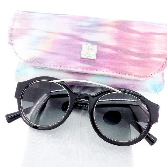 【中古】 【送料無料】 ジョルジオ アルマーニ GIORGIO ARMANI サングラス メガネ レディース メンズ 可 サイドGAマーク入り ラウンド型 ブラック×シルバー プラスチック×シルバー金具 美品 T2024