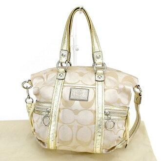 Coach 2WAY shoulder bag handbag beige X gold X silver system T2054s.
