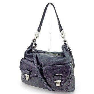 Coach 2WAY shoulder bag handbag black X silver system T2057s.