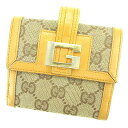 7fc1bea7650c Gucci Gucci W hook wallet folio wallet compact lady's men's possible GG  canvas light brown X beige canvas X leather popularity T2156s