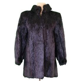 【中古】 サンローラン コート 前開き 毛皮 ファー ブラック 毛皮 SAINT LAURENT T2270