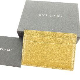 【中古】 【送料無料】 ブルガリ BVLGARI カードケース パスケース レディース メンズ 可 ロゴ ベージュ レザー 人気 良品 T2810s