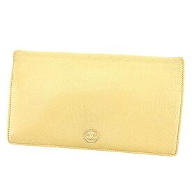 25b63f5b0e96 【中古】 シャネル Chanel 長財布 財布 ファスナー付き長財布 財布 ベージュ×ゴールド