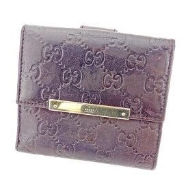 263abe9a9be9 【中古】 【送料無料】 グッチ Gucci Wホック財布 二つ折り 財布 メンズ