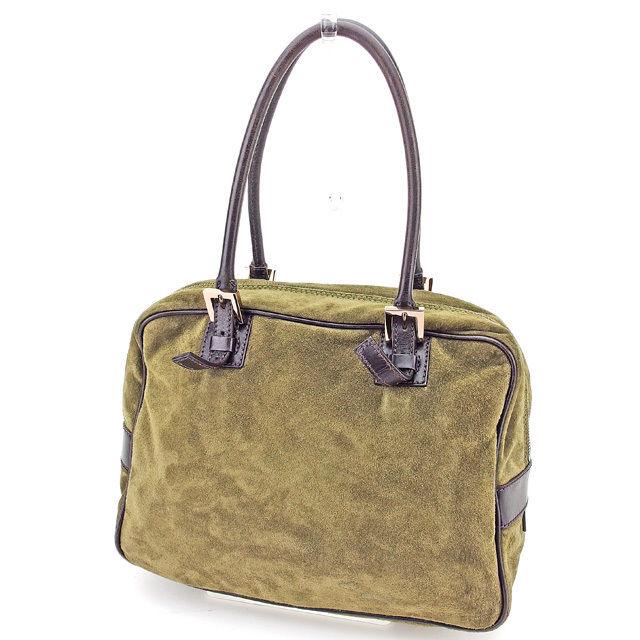 【中古】 【送料無料】 フェンディ FENDI ハンドバッグ ショルダーバッグ バッグ メンズ可 カーキ スエード×レザー 人気 良品 T2945s