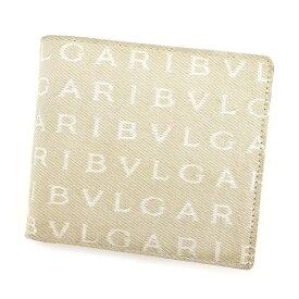 【中古】 【送料無料】 ブルガリ BVLGARI 二つ折り 財布 レディース メンズ 可 ロゴマニア ベージュ×ブラウン キャンバス×レザー 人気 T3506s