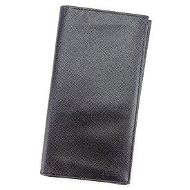 【中古】 【送料無料】 プラダ 長札入れ 札入れ メンズ ロゴ ブラック サフィアーノレザー Prada T3586