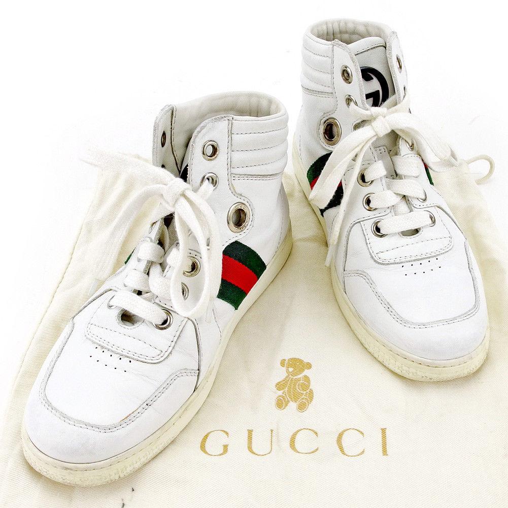 【中古】 【送料無料】 グッチ スニーカー シューズ 靴 ガールズ ボーイズ 可 キッズ ウェビングライン ♯30 ハイカット ホワイト×グリーン×レッド系 レザー Gucci T4036 .