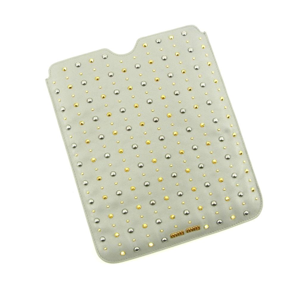 【中古】 【送料無料】 ミュウミュウ iPadケース タブレットケース グレー T4594s